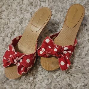 Miu Miu- Open Toe Miles. Red + White Dots W/ Bow